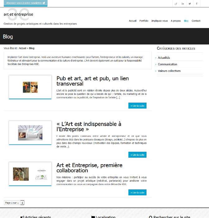 Page blog du site Art et Entreprise