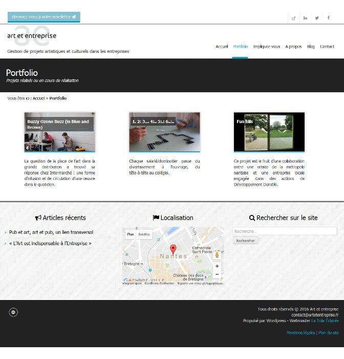 Page portfolio du site Art et Entreprise