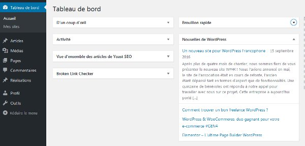 Back-office de WordPress version 4.6.1