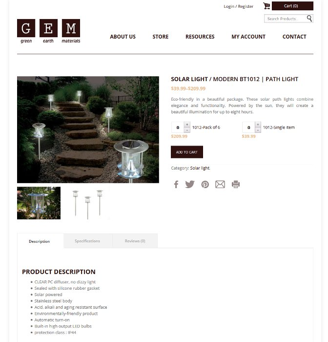 Page produit de la boutique en ligne Green Earth Materials