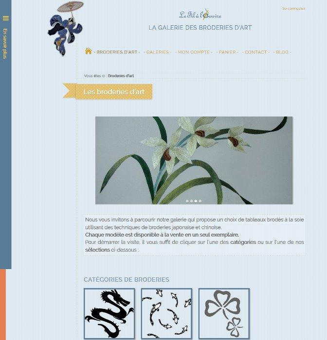 Page d'accueil du site Le Fil à l'Œuvre Broderies d'art