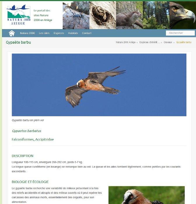 Page espèce du site Natura 2000 Ariège