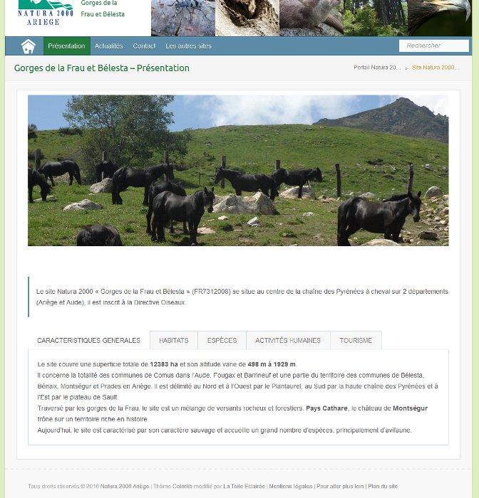 Page de présentation du site Natura 2000 Bélesta