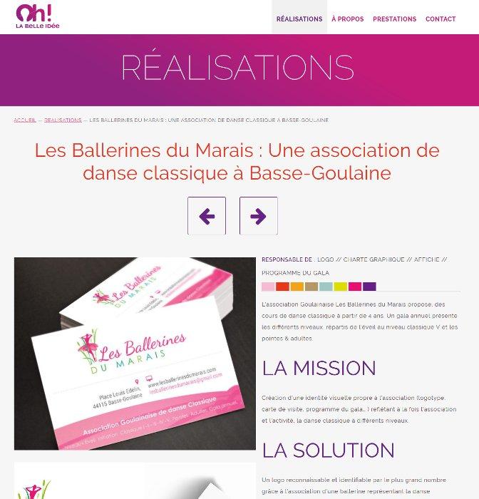 Page d'une réalisation de Oh! La Belle Idee, webdesigner