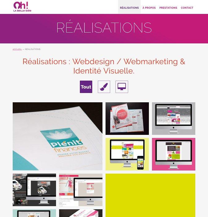 Page des réalisation de Oh! La Belle Idee, webdesigner