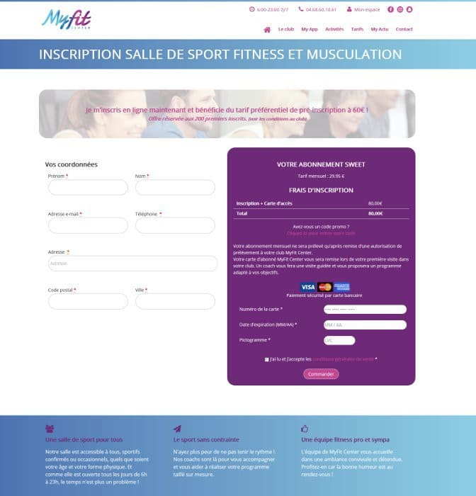 Page d'inscription du site myfit-center.fr