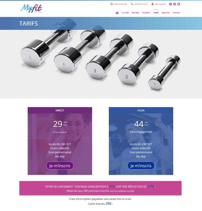 Page tarifs du site myfit-center.fr