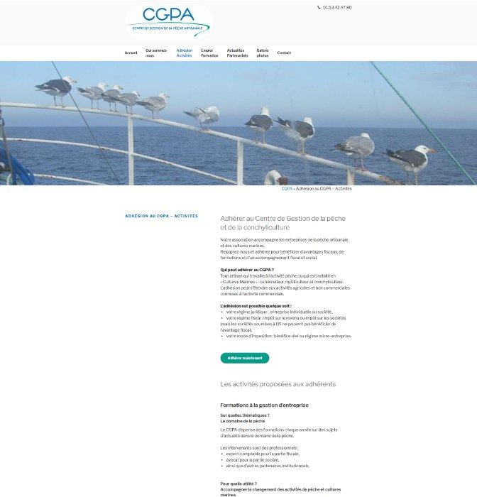 Page des activités du site internet cgpa-peche.fr