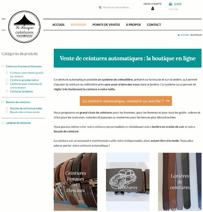Page boutique du site Le kiosque à ceintures