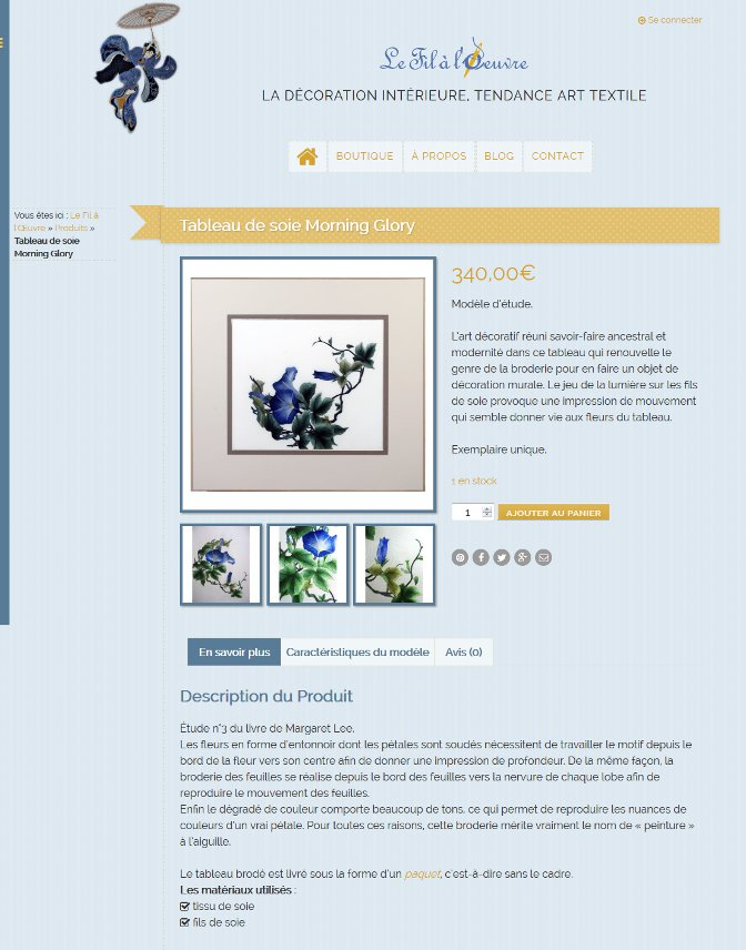 Une fiche produit du site Le Fil à l'Œuvre