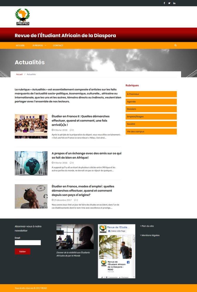"""Page de la rubrique """"actualités"""" du site de la Revue READ"""