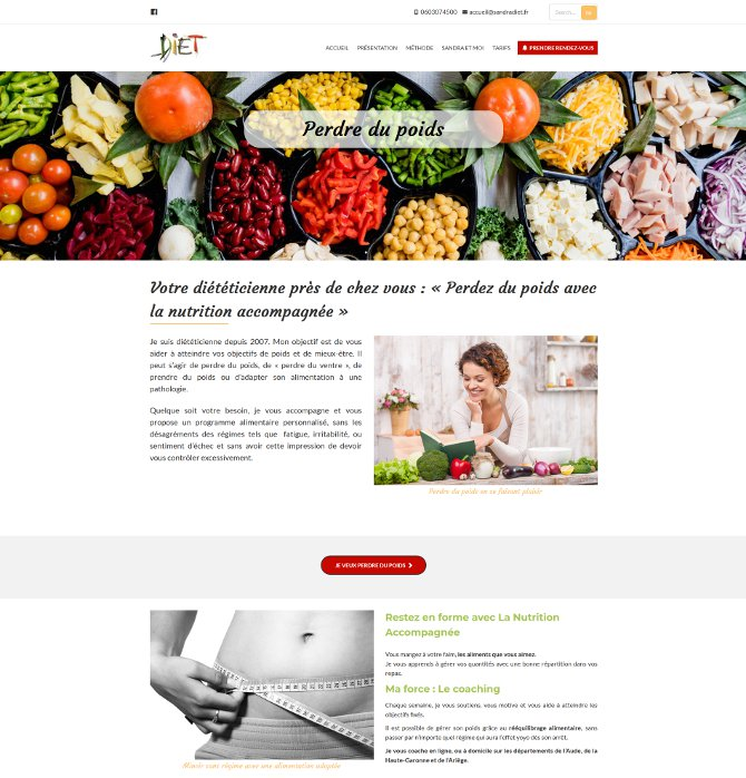 Site vitrine pour une activité de diététicienne dans l'Aude
