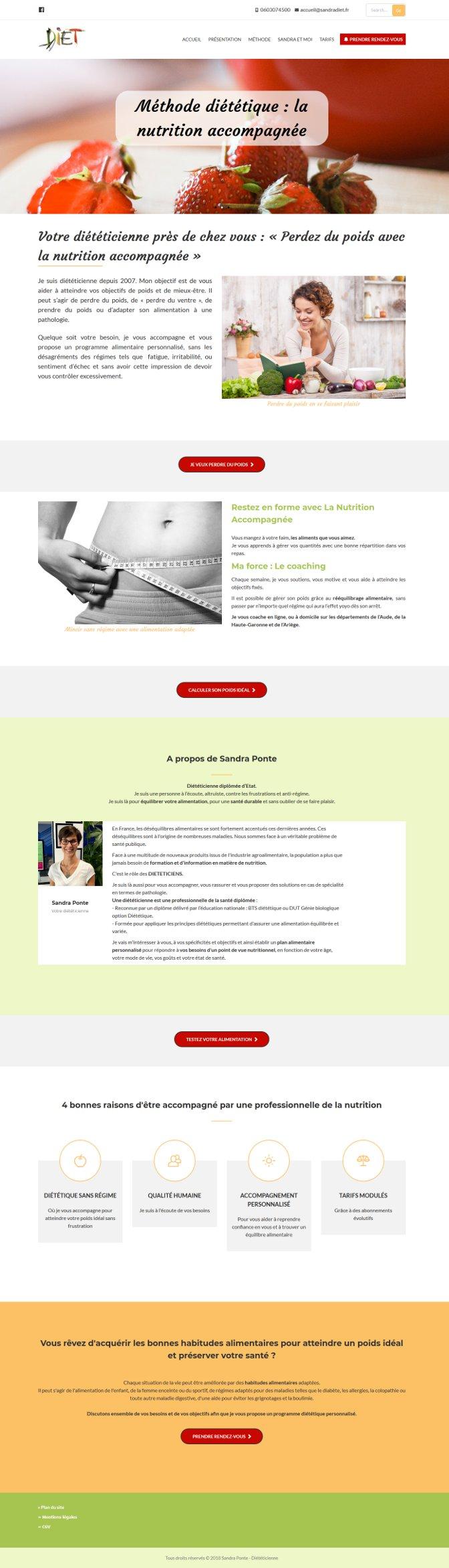 Page d'accueil du site Sandra DIET