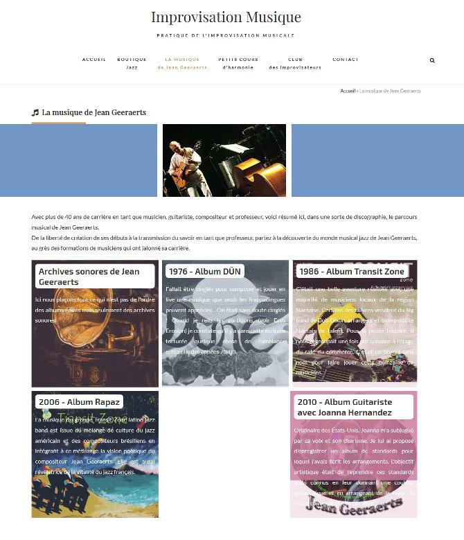 """Page """"Musique"""" du site Improvisation Musique"""