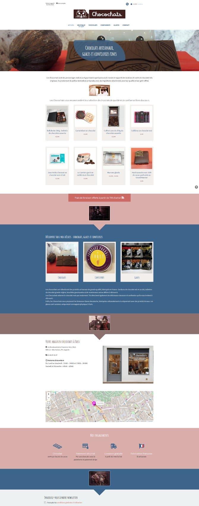 Page d'accueil du site Chocochats