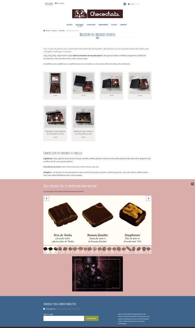 Page d'une catégorie de produit du site Chocochats