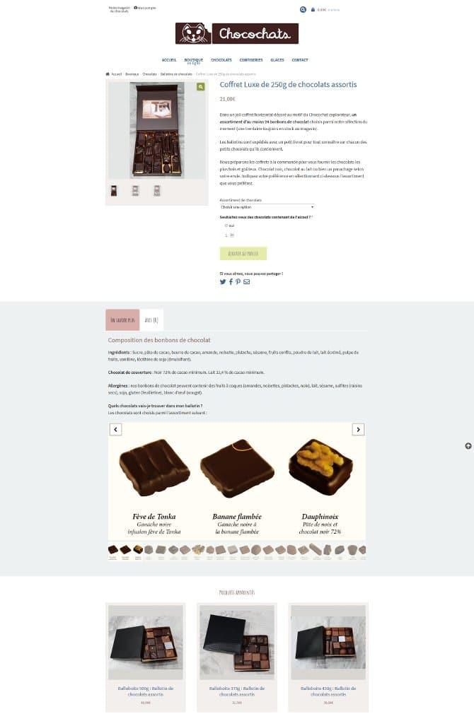 Page d'une fiche produit du site Chocochats